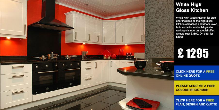 White High Gloss Kitchen Cheap Kitchens Kitchen Units Sale Uk